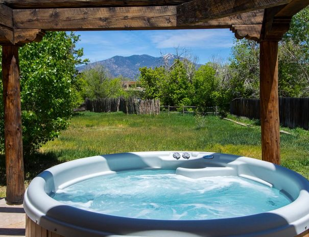 Taos Vacation Rental home hot tub with view