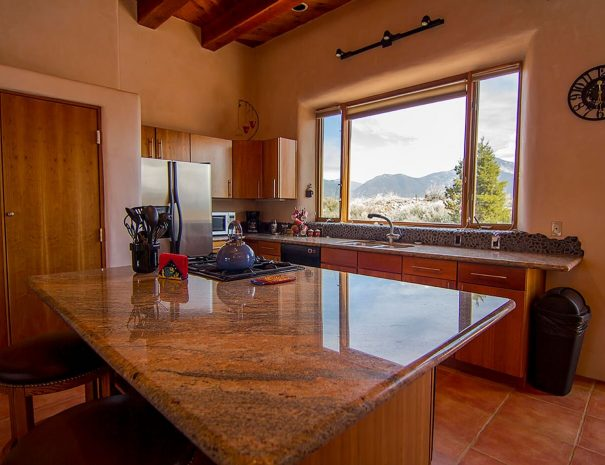 Taos Vacation Rental Home kitchen with views