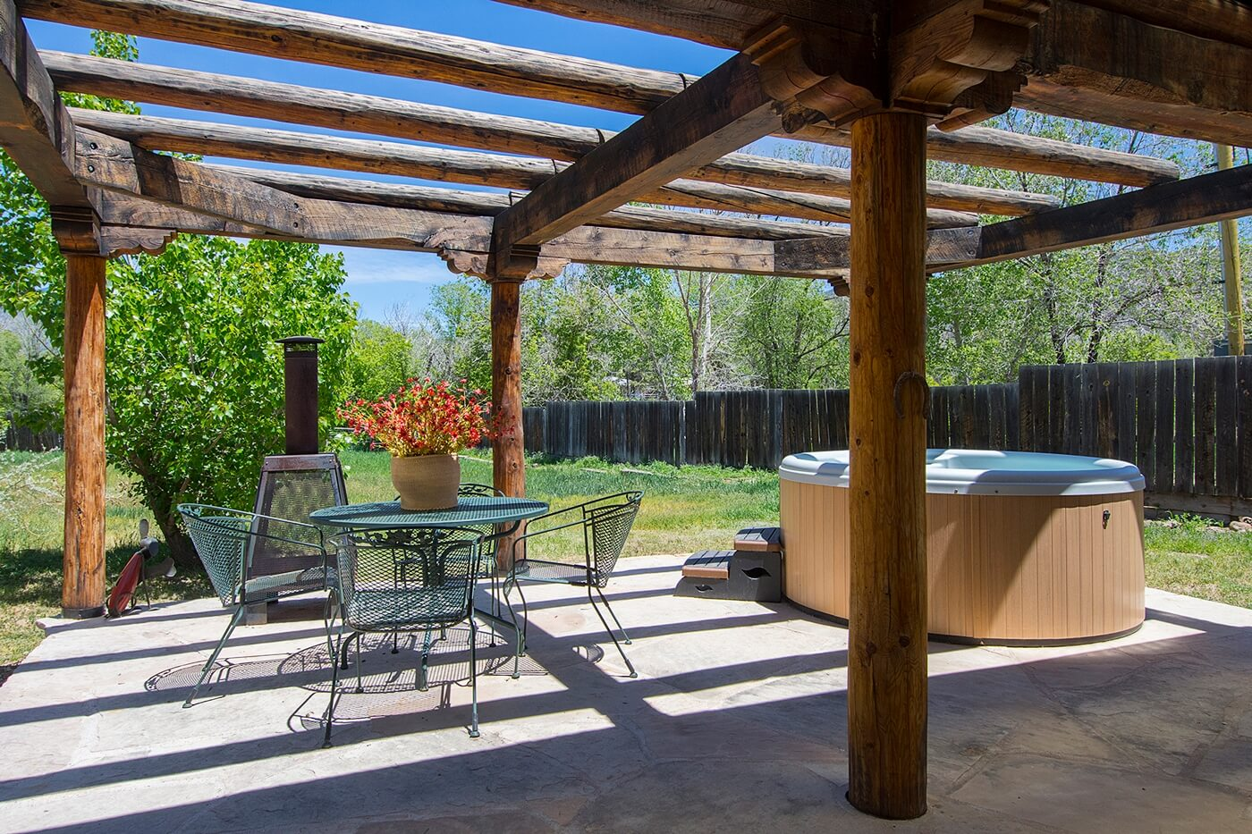 Taos Vacation Rental home hot tub on patio