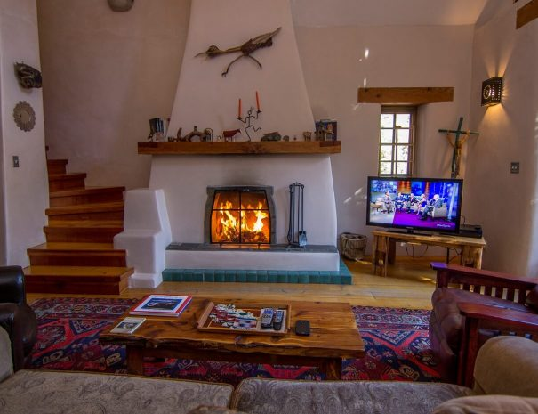 Taos Vacation Rental Home open fire